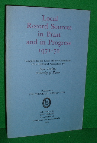 Image for LOCAL RECORD SOURCES IN PRINT AND IN PROGRESS 1971-72