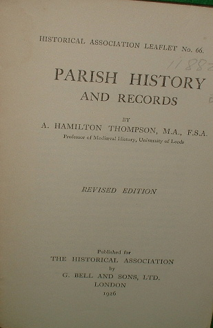 Image for PARISH HISTORY and RECORDS Revised edition