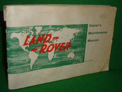 Image for LAND-ROVER OWNER'S MAINTENANCE MANUAL   Part no 4852 c. 1960's