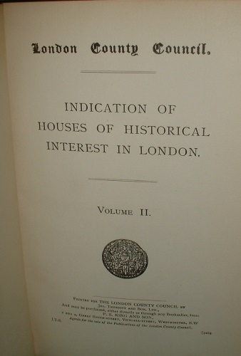 Image for INDICATION OF HOUSES OF HISTORICAL INTEREST IN LONDON VOLUME II [ vol 2 ] 11