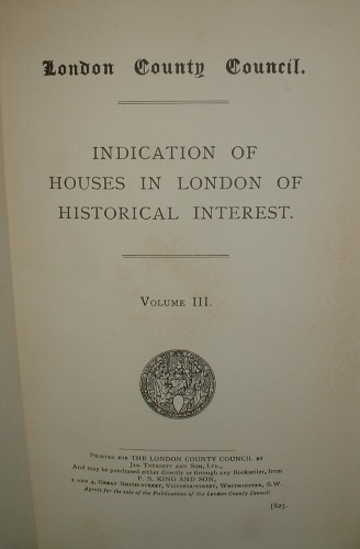 Image for INDICATION of HOUSES of HISTORICAL INTEREST in LONDON VOLUME III [vol 3 ] 111
