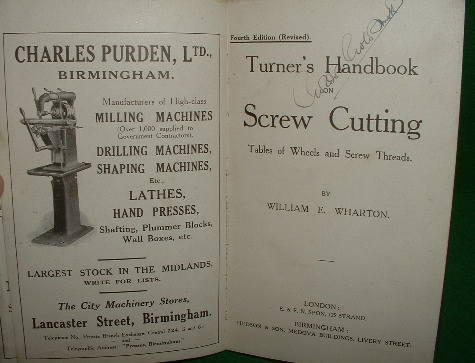 turners handbook on screw cutting tables of wheels and screw rh booksonlinebrighton com