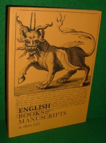 Image for ENGLISH BOOKS AND MANUSCRIPTS to 1800 (iii)