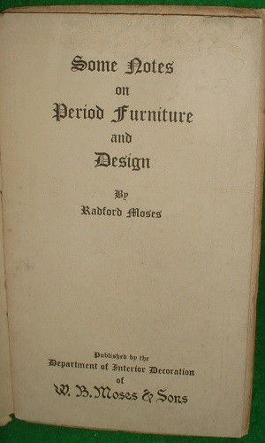Image for SOME NOTES ON PERIOD FURNITURE AND DESIGN