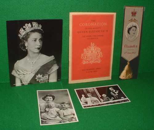 Image for THE FORM AND ORDER OF SERVICE THAT IS TO BE PERFORMED AND THE CEREMONIES THAT ARE TO BE OBSERVED IN THE CORONATION OF HER MAJESTY QUEEN ELIZABETH II IN THE ABBEY CHURCH OF ST PETER WESTMINSTER  ( WITH  EPHEMERA AND THE HARDBACK / DUSTJACKET BOOK ,THE YOUNG QUEEN)