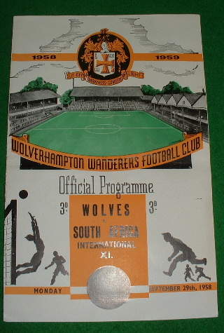 Image for WOLVERHAMPTON WANDERERS FOOTBALL CLUB PROGRAMME 1958 WOLVES v SOUTH AFRICA International XI