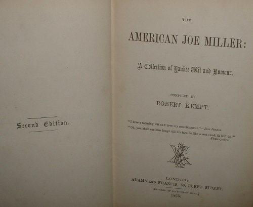 Image for THE AMERICAN JOE MILLER A Collection of Yankee Wit and Humour